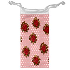 Pink Polka Dot Background With Red Roses Jewelry Bag