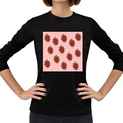 Pink Polka Dot Background With Red Roses Women s Long Sleeve Dark T Shirts
