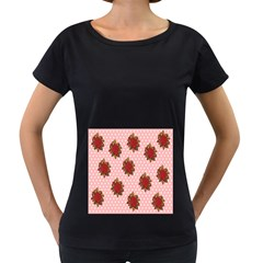 Pink Polka Dot Background With Red Roses Women s Loose Fit T Shirt (black)