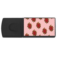 Pink Polka Dot Background With Red Roses Usb Flash Drive Rectangular (4 Gb)