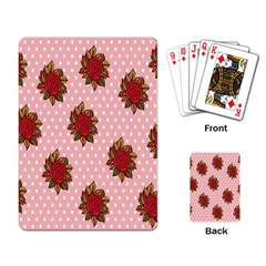 Pink Polka Dot Background With Red Roses Playing Card