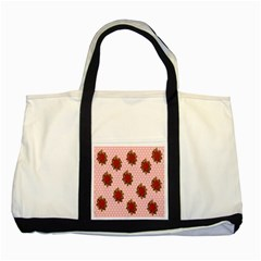 Pink Polka Dot Background With Red Roses Two Tone Tote Bag