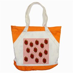 Pink Polka Dot Background With Red Roses Accent Tote Bag