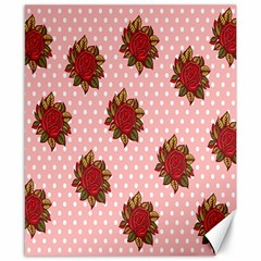 Pink Polka Dot Background With Red Roses Canvas 8  x 10
