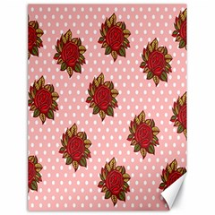 Pink Polka Dot Background With Red Roses Canvas 18  x 24