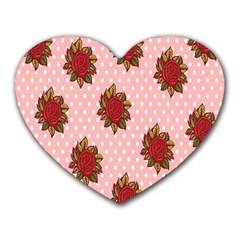 Pink Polka Dot Background With Red Roses Heart Mousepads