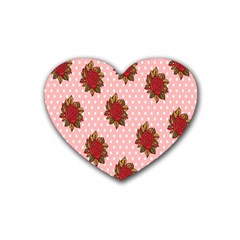 Pink Polka Dot Background With Red Roses Rubber Coaster (Heart)