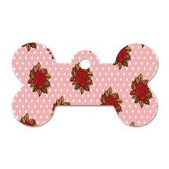 Pink Polka Dot Background With Red Roses Dog Tag Bone (two Sides)