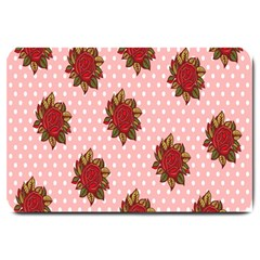Pink Polka Dot Background With Red Roses Large Doormat