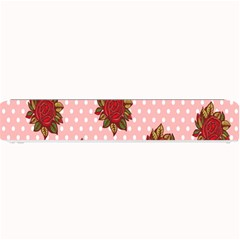 Pink Polka Dot Background With Red Roses Small Bar Mats