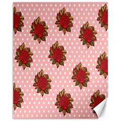Pink Polka Dot Background With Red Roses Canvas 11  X 14
