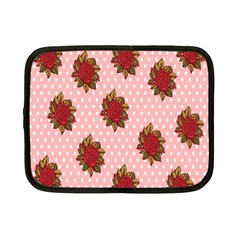 Pink Polka Dot Background With Red Roses Netbook Case (Small)
