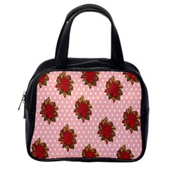 Pink Polka Dot Background With Red Roses Classic Handbags (one Side)