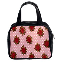 Pink Polka Dot Background With Red Roses Classic Handbags (2 Sides)