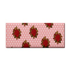 Pink Polka Dot Background With Red Roses Cosmetic Storage Cases