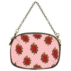 Pink Polka Dot Background With Red Roses Chain Purses (One Side)