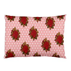 Pink Polka Dot Background With Red Roses Pillow Case