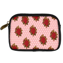 Pink Polka Dot Background With Red Roses Digital Camera Cases