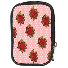 Pink Polka Dot Background With Red Roses Compact Camera Cases