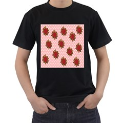 Pink Polka Dot Background With Red Roses Men s T Shirt (black)