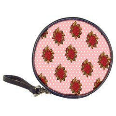 Pink Polka Dot Background With Red Roses Classic 20-CD Wallets