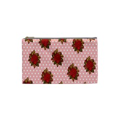 Pink Polka Dot Background With Red Roses Cosmetic Bag (Small)