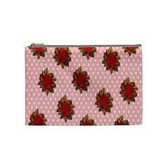 Pink Polka Dot Background With Red Roses Cosmetic Bag (medium)