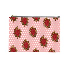 Pink Polka Dot Background With Red Roses Cosmetic Bag (Large)