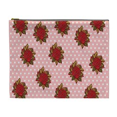 Pink Polka Dot Background With Red Roses Cosmetic Bag (xl)