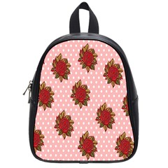 Pink Polka Dot Background With Red Roses School Bags (Small)