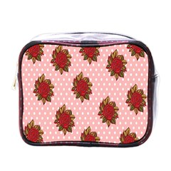 Pink Polka Dot Background With Red Roses Mini Toiletries Bags