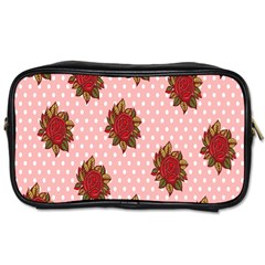 Pink Polka Dot Background With Red Roses Toiletries Bags