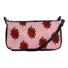 Pink Polka Dot Background With Red Roses Shoulder Clutch Bags