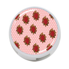 Pink Polka Dot Background With Red Roses 4-Port USB Hub (Two Sides)