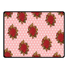 Pink Polka Dot Background With Red Roses Fleece Blanket (Small)