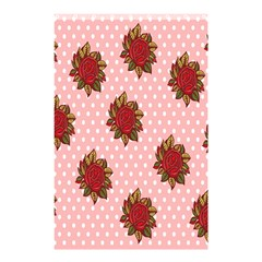Pink Polka Dot Background With Red Roses Shower Curtain 48  x 72  (Small)