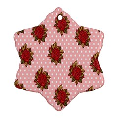Pink Polka Dot Background With Red Roses Ornament (Snowflake)
