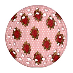 Pink Polka Dot Background With Red Roses Round Filigree Ornament (Two Sides)