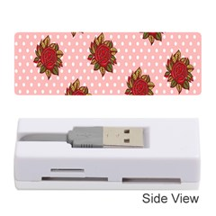 Pink Polka Dot Background With Red Roses Memory Card Reader (Stick)