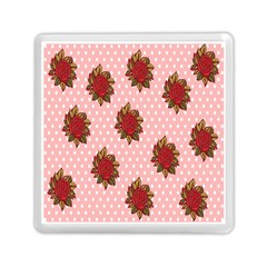 Pink Polka Dot Background With Red Roses Memory Card Reader (Square)