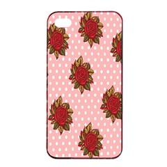 Pink Polka Dot Background With Red Roses Apple Iphone 4/4s Seamless Case (black)