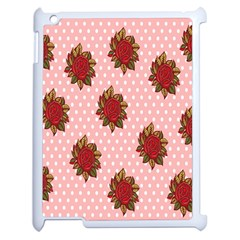 Pink Polka Dot Background With Red Roses Apple iPad 2 Case (White)