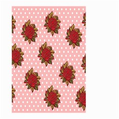 Pink Polka Dot Background With Red Roses Small Garden Flag (two Sides)