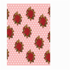 Pink Polka Dot Background With Red Roses Large Garden Flag (two Sides)