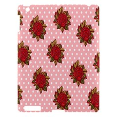 Pink Polka Dot Background With Red Roses Apple iPad 3/4 Hardshell Case