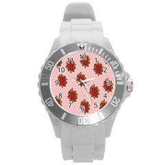 Pink Polka Dot Background With Red Roses Round Plastic Sport Watch (l)