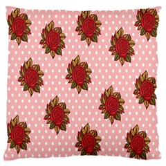 Pink Polka Dot Background With Red Roses Large Cushion Case (two Sides)