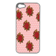 Pink Polka Dot Background With Red Roses Apple iPhone 5 Case (Silver)