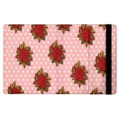 Pink Polka Dot Background With Red Roses Apple Ipad 2 Flip Case