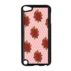 Pink Polka Dot Background With Red Roses Apple Ipod Touch 5 Case (black)